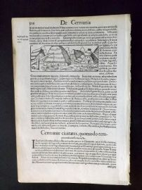 Munster C1580's Antique Woodcut. Germany Village, Rustic Scene